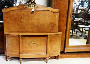 Antique Art Deco French Armoire And Bed Bird S Eye Maple Bedroom Suite Double