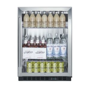 Slim 24 Bar Beverage Cooler Refrigerator Glass Door Led Display Summit Scr610bl