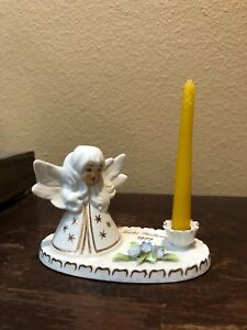 Very Rare Vintage Dresden Angel Candle Holder Froke Weihnacht 1977 Blue Flowers
