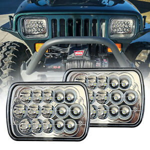 Pair 7x6 Inch Led Sealed Beam Replacement H6054 H5054 6052 For Pickup Cherokee