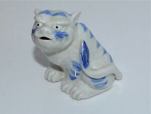 Antique Japanese Hirado Blue And White Porcelain Tiger Okimono