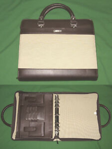 8 5x11 1 25 Brown Canvas S Leather Day Runner Planner Monarch Franklin Covey