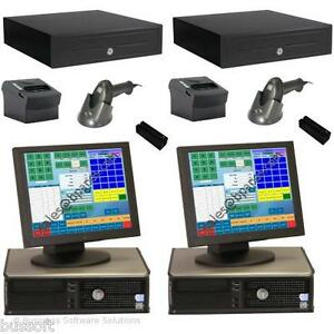 2 Stn Retail Touch Point Of Sale System With Pos Credit Card Software