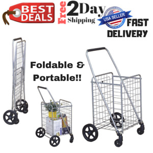 Collapsible Utility Grocery Cart Swivel Wheel Portable Folding Shopping Laundry