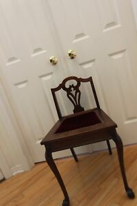Petite Antique Mahogany Vanity Chair With Red Velvet Seat Eastlake Style