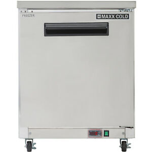 Maxx Cold 27 W One 1 Solid Door Commercial Undercounter Stainless Steel Freezer