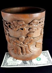 Antique Chinese Carved Wooden Brush Pot