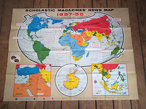 1957 34 X 44 Scholastic Magazines Political Educational Fold Out World Map
