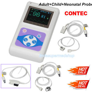 Contec Oled Fingertip Pulse Oximeter Cms60d Adult child neonatal Probe Newest Us