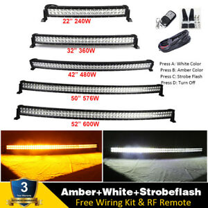 Curved Amber White Strobeflash Led Light Bar Offroad 22 32 42 50 52 600w
