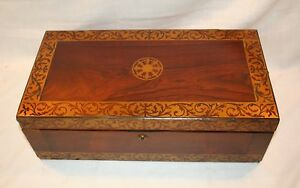 Antique Rosewood Lap Desk Inlaid Brass Secret Drawers English Regency C 1830