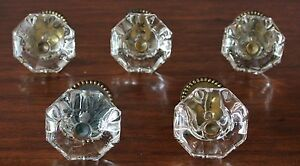 Knobs Clear Glass 5 Huge 100 Years Old Extraordinary Brass Fittings