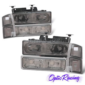 Led Halo 1994 2000 Chevy Gmc Silverado Suburban Tahoe C10 C K Smoke Headlights