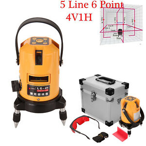 360 Degree Self Leveling 5 Line 6 Point 4v1h Laser Level Measure Kit W Glasses