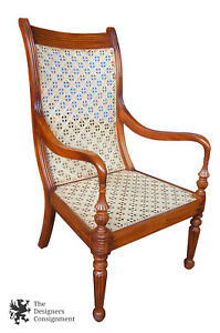 Anglo Indian British Colonial Style Teak Carved Arm Chair Cane Seat Serpentine