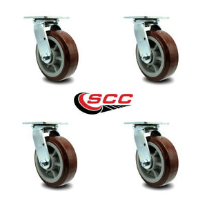 Scc 6 Poly On Polyolefin Wheel Swivel Casters Non Marking Set Of 4