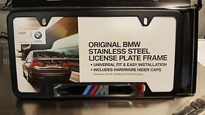 Bmw M Logo License Plate Frame Black Stainless Steel 82120010404 1 Plate