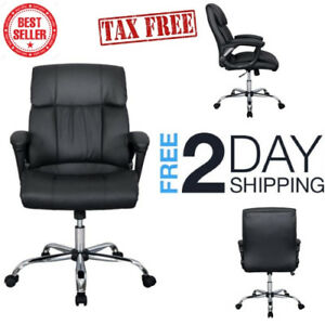 Office Chair Black Pu Leather Ergonomic High Back Executive Best Desk Task