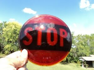 Vintage Red Glass Stop Brake Tail Light Lens Cats Eye No 100