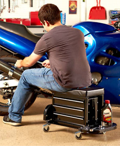 Rolling Work Seat With Built in Toolbox Efficient Automotive All In One Machine