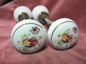 2 Sets 4 Knobs Porcelain Floral Door Knobs Roses Cosmos Pinks Purple Complete