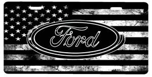 New Custom American Flag Tactical Black And White Ford Vanity License Plate