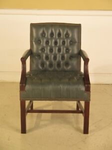 F43384c Hickory Leather Co Tufted Open Arm Library Chair