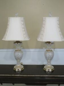 F29483ec Pair Highly Etched Crystal Table Lamps W Shades