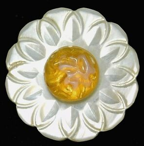Antique Victorian Carved Pearl Shell Button Honey Yellow Glass Cab 13 16