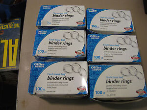 Office Depot 1 Loose Leaf Binder Rings 100 Ct Box 6 Boxes 600 Rings
