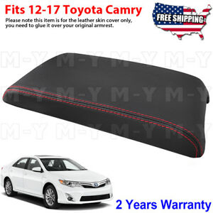 Fit 12 17 Toyota Camry Black Leather Center Console Lid Armrest Cover Red Stitch