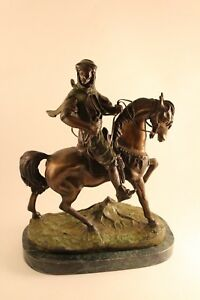 Vtg Antoine Louis Barye French Bronze Arab On Horse Rider Marble Base Sculpture