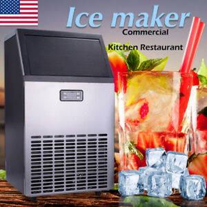 100lbs 32kg Commerci Ice Cube Maker Stainless Steel Freezer Machine Undercounter