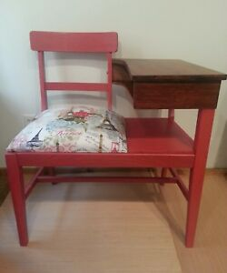 Vintage Mid Century Gossip Bench Telephone Table Refinished
