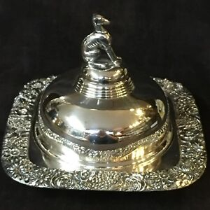 Meriden Silver Butter Dish Server Whippet Finial Pierced Glass Liners Wow