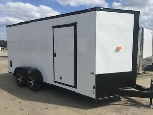 New 7x16 White Blackout Enclosed Cargo Trailer 5 Year Warranty Free Upgrades