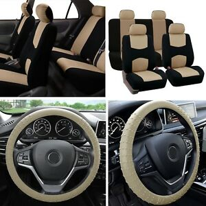 Solid Bench Car Seat Covers Beige Black Set W Silicone Steering Wheel Cover