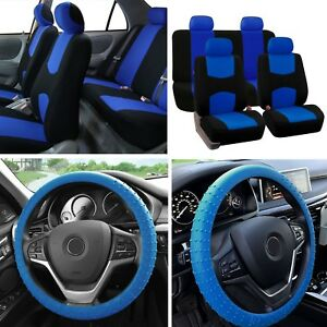 Solid Bench Car Seat Covers Blue Black Set W Silicone Steering Wheel Cover