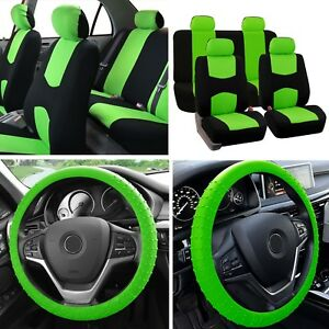 Solid Bench Car Seat Covers Green Black Set W Silicone Steering Wheel Cover