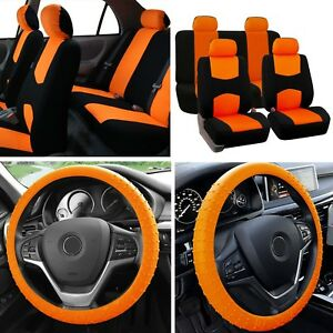 Solid Bench Car Seat Covers Orange Black Set W Silicone Steering Wheel Cover