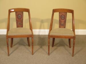 Lf41408c Pair Antique Spanish Continental Chairs W Hand Painted Back Chairs
