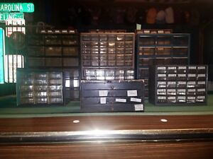 Lot 10 Vintage 329 Drawers Small Parts Hardware Organization Cabinets Akro Mils