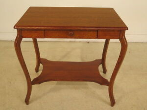 F40157 Antique Refinished Oak 1 Drawer Library Table W Drawer