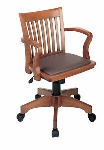 Deluxe Fruit Wood Bankers Desk Chair W Brown Vinyl Padded Seat Managers Chairs