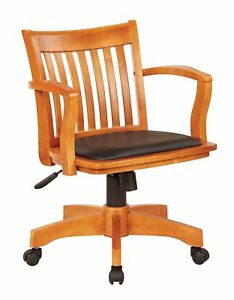 Deluxe Fruit Wood Bankers Desk Chair W Black Vinyl Padded Seat Managers Chairs