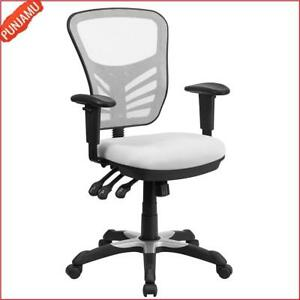 Furniture Mid back White Mesh Multifunction Executive Swivel Chair Computer Desk