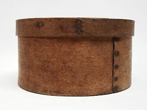 Early 19th Century New England Round Wood Pantry Box Signed J Burr