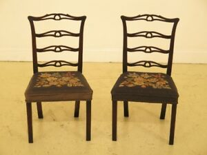 F30256ec Pair Antique Childs Size Ribbon Back Mahogany Chairs