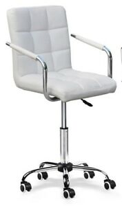 Modern Faux Leather Office Chair Swivel Chair Gas Lift White