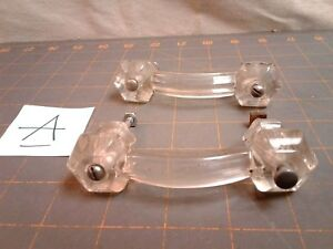 Set Of Two Glass Bridge Handle Drawer Cabinet Pulls Hardware Vintage 1930 S Era